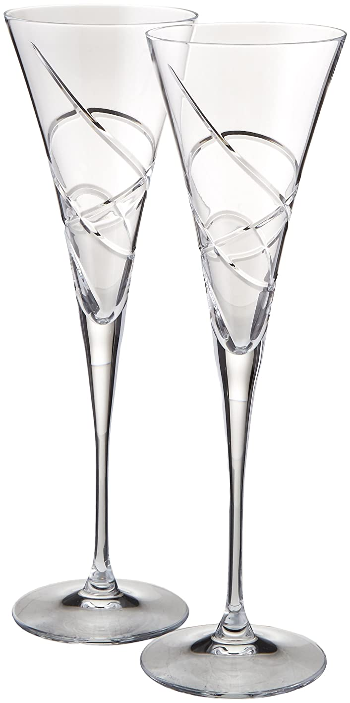 バンドルアナニバー吸収(Lenox Bridal Adorn Giftware, Crystal, Toasting Flutes, No Color) - Lenox Adorn Toasting Flute, Clear, Set of 2