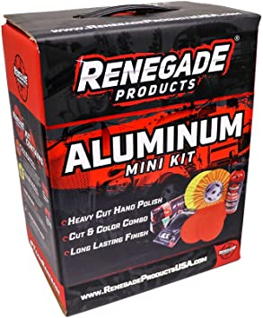 Renegade Products Aluminum Polishing Mini Kit Complete with Buffing Wheels, Buffing Compounds, Right Angle Grinder Safety Flange, Rebel Pro Red Hand Polish and Microfibers: image