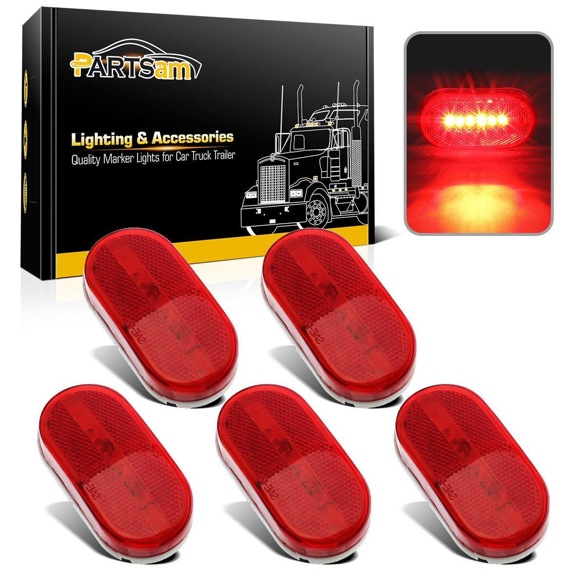 rv clearance lights amazon com  partsam (5) 12v oval oblong red side marker clearance lamp w white base