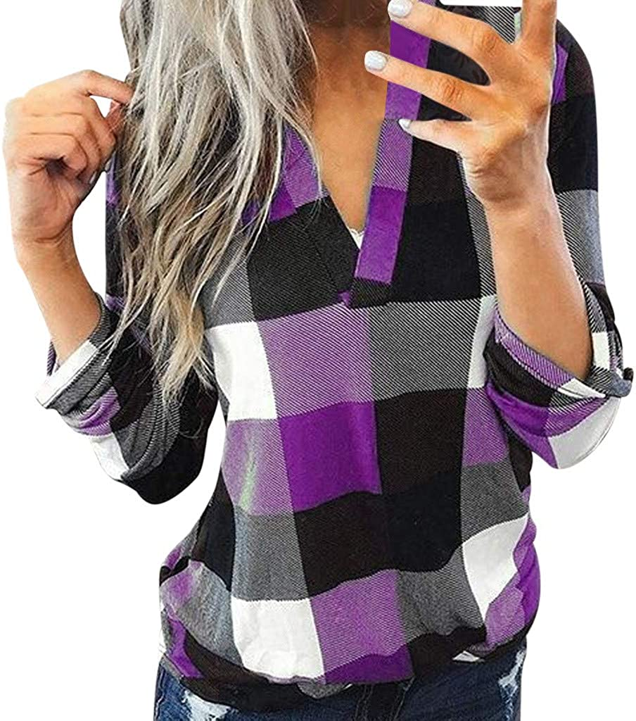 UOCUFY Women Tops Long Sleeve, Womens Tunics Shirts Tops Long Sleeve Casual Crewneck Loose Soft Pullover Tops