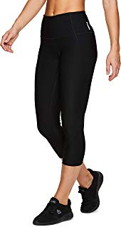 RBX Active Women's Solid Running Workout Capri Length Yoga Leggings