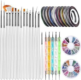 Nail Art Brushes, Teenitor 3D Nail Art Paiting Polish Design Kit with 15 Nail Gel Brushes, Nail Dotting Pen 5pcs, 12 Color...
