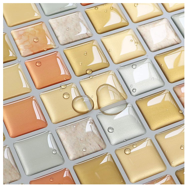 養うピーク十年Yoilline タイルシール 賃貸 ウォールステッカー 耐熱 防水 タイル 3D シール 簡単取付 モザイクタイルシール キッチン 洗面所 トイレ 北欧 DIY ステッカー 壁紙シール 黄色 4枚 色14