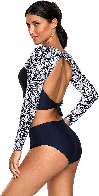 2 PC Long Sleeve Floral Cut Out Back Padded Tankini Cropped Crop Top and Highwaist Bikini Bottom Swimwear Swimsuit Bathing Suit Beach Wear Beachwear Swimming Suit Set