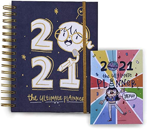 Alicia Souza - The 2021 Ultimate Planner & Pocket Planner | Gold Spiral Binder | Sturdy Printed Box | Adorable Illust...