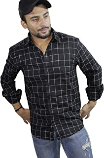 Spanish One Look Mens Long Sleeve 100% Cotton Regular Fit Button Down Casual Shirts Dress in Black Printed Check Shirt for Men