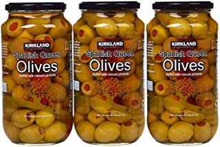 Kirkland Signature Spanish Queen Olives Stuffed With Minced Pimiento, 21oz Glass Jar (Pack of 3, Total of 63 Oz)