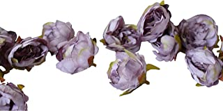 VictorieLei Peony Flower Heads, 20 Small Artificial Buds Peonies Silk Fabric, Faux Fake Floral for Millinery Head Band Crafts, Wedding Bouquet (Light Purple #6)