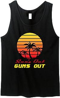 7f46b3c0ed8aec GunShowTees Men s Sun s Out Guns Out Retro 80s Muscle ...