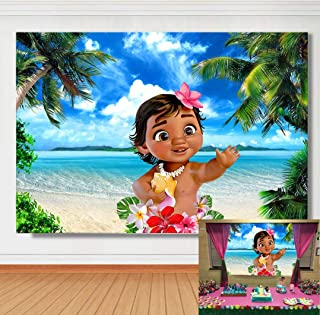 TJ Baby Moana Theme Photography Backdrop Summer Hawaii Sea Beach Luau Party Photo Background Girls Baby Shower 1st Birthday Decoration Banner Studio Booth Props Cake Table Decor 7x5ft Vinyl