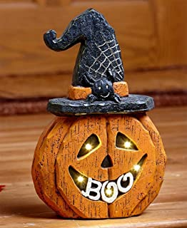 ghi Halloween Lighted Ceramic Boo Pumpkin Wearing Witch Hat with Spider & Spider Web