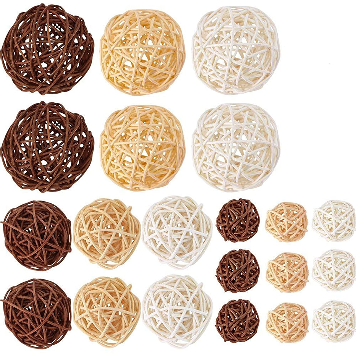 Supla 21 Pcs/lot Mixed 3 Colors Rattan wicker balls Vase Fillers for Wedding Party Christmas decoration, Assorted Three Size(3cm/5cm/7cm)