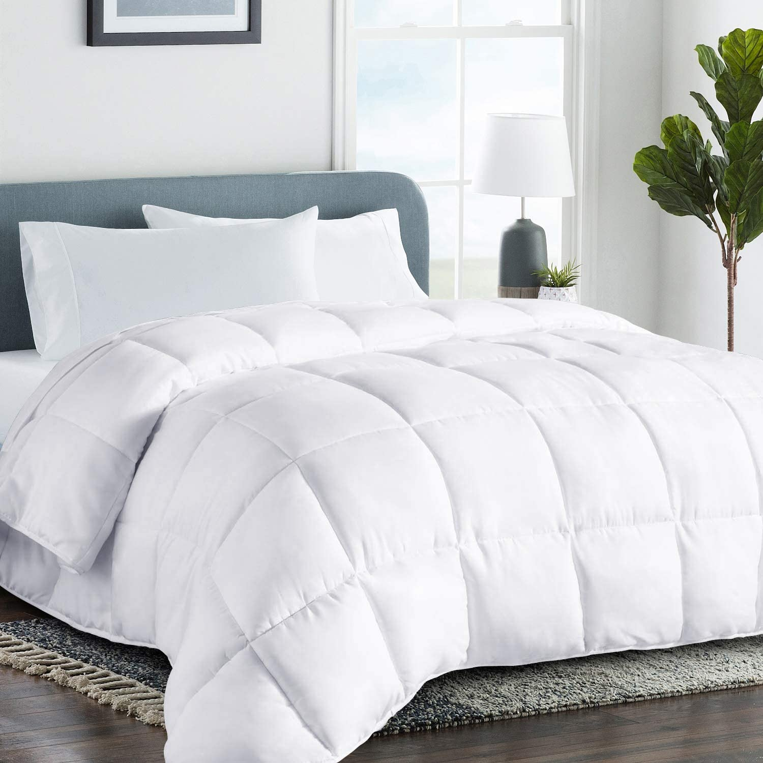 COHOME King 2100 Series Cooling Comforter Down Alternative Quilted Duvet Insert with Corner Tabs All-Season - Luxury Hotel Comforter - Reversible - Machine Washable - White : Home & Kitchen