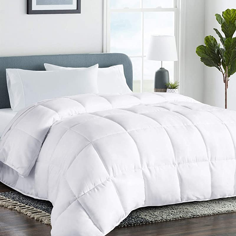 COHOME Queen Full 2100 Series Summer Cooling Comforter Down Alternative Quilted Duvet Insert With Corner Tabs All Season Plush Microfiber Fill Reversible Machine Washable White