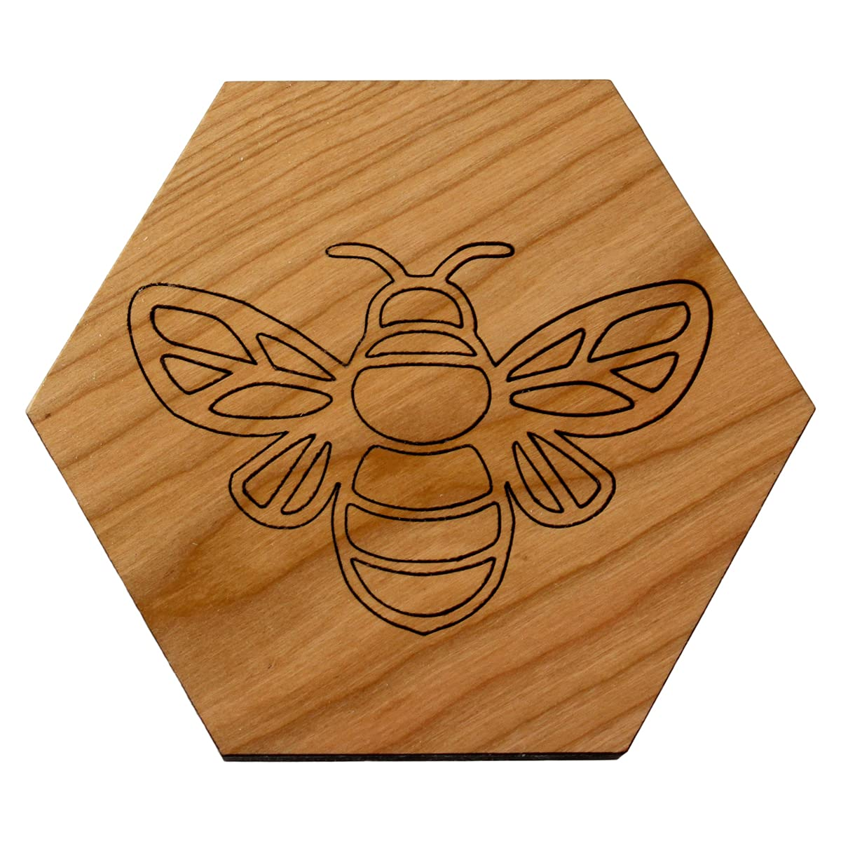 Honey Bee Hexagon Low OFFicial store price Trivet- Solid Cherry Wood Holde Trivet Hot Pad