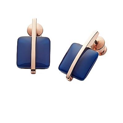 Skagen Seaglass Rose-Tone Drop Earrings (Blue) Earring