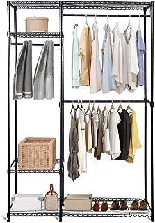 DREAMADE Penderie à Vêtements en Métal Armoire de Rangement Porte-Manteaux Vêtements avec 3 Étagères et Pieds Réglables, 3...