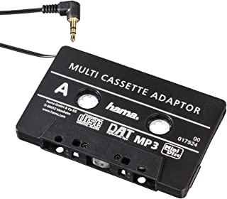 Hama KFZ Kassettenadapter (Smartphones/MP3 /CD Player/iPod/Tablets am Autoradio, Tape mit 3,5 mm Klinkenstecker, Stereo) schwarz