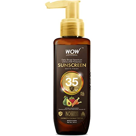 WOW Skin Science Sunscreen Matte Finish - SPF 35 PA++ - Daily Broad Spectrum - UVA &UVB Protection - Quick Absorb - for All Skin Types - No Parabens, Silicones, Mineral Oil, Oxide, Color & Benzophenone, 100 ml