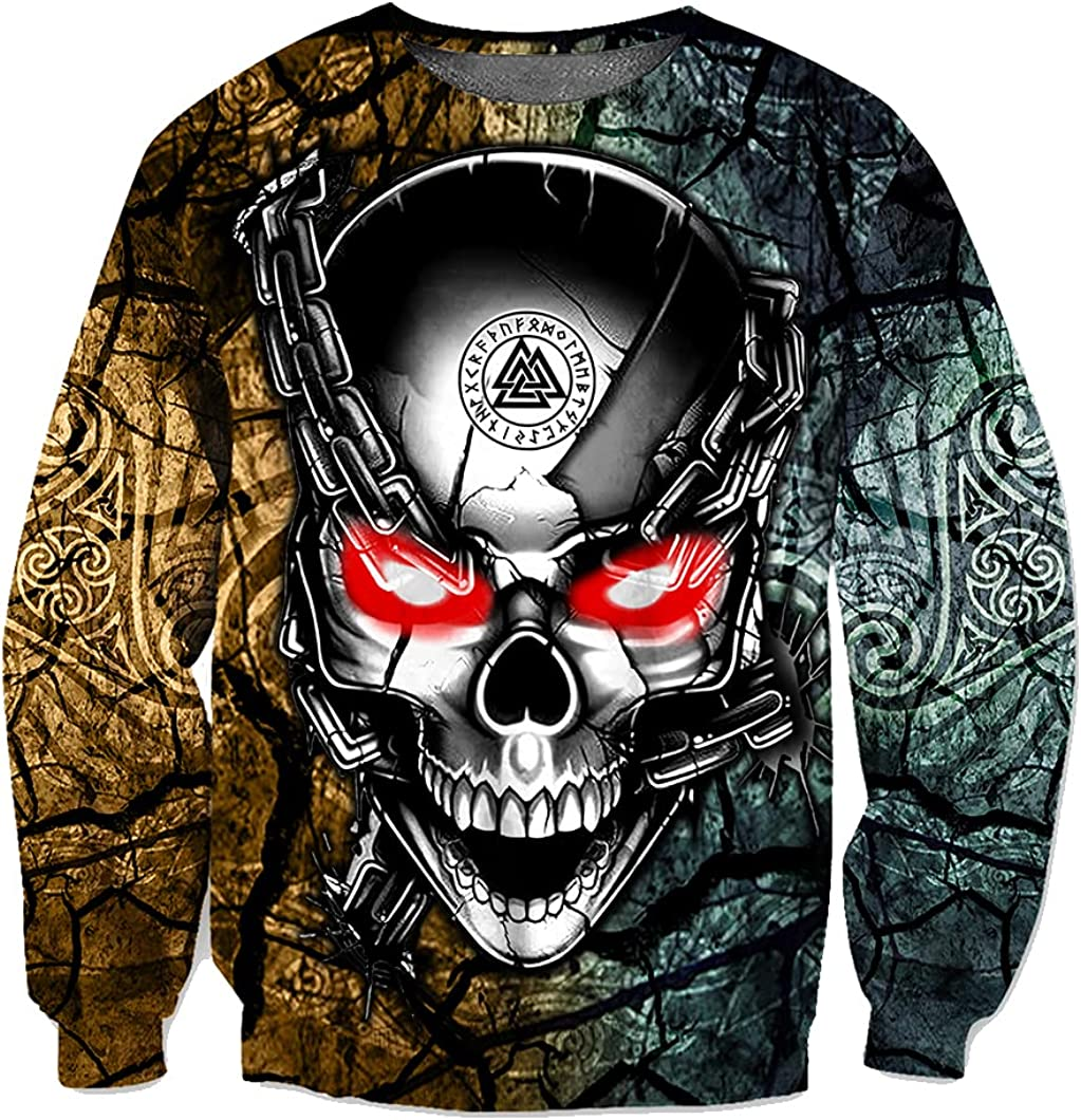 Vikings Hoodie 3D Print Undead Warrior Skull Oversized Pullover Men Casual Loose Drawstring Zipper Sweatshirt