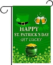 WEBSUN St. Patrick's Day Garden Flag Double Sided Irish Green 12 x 18 Inch, Shamrocks Garden Flag for Garden & Home Decorations