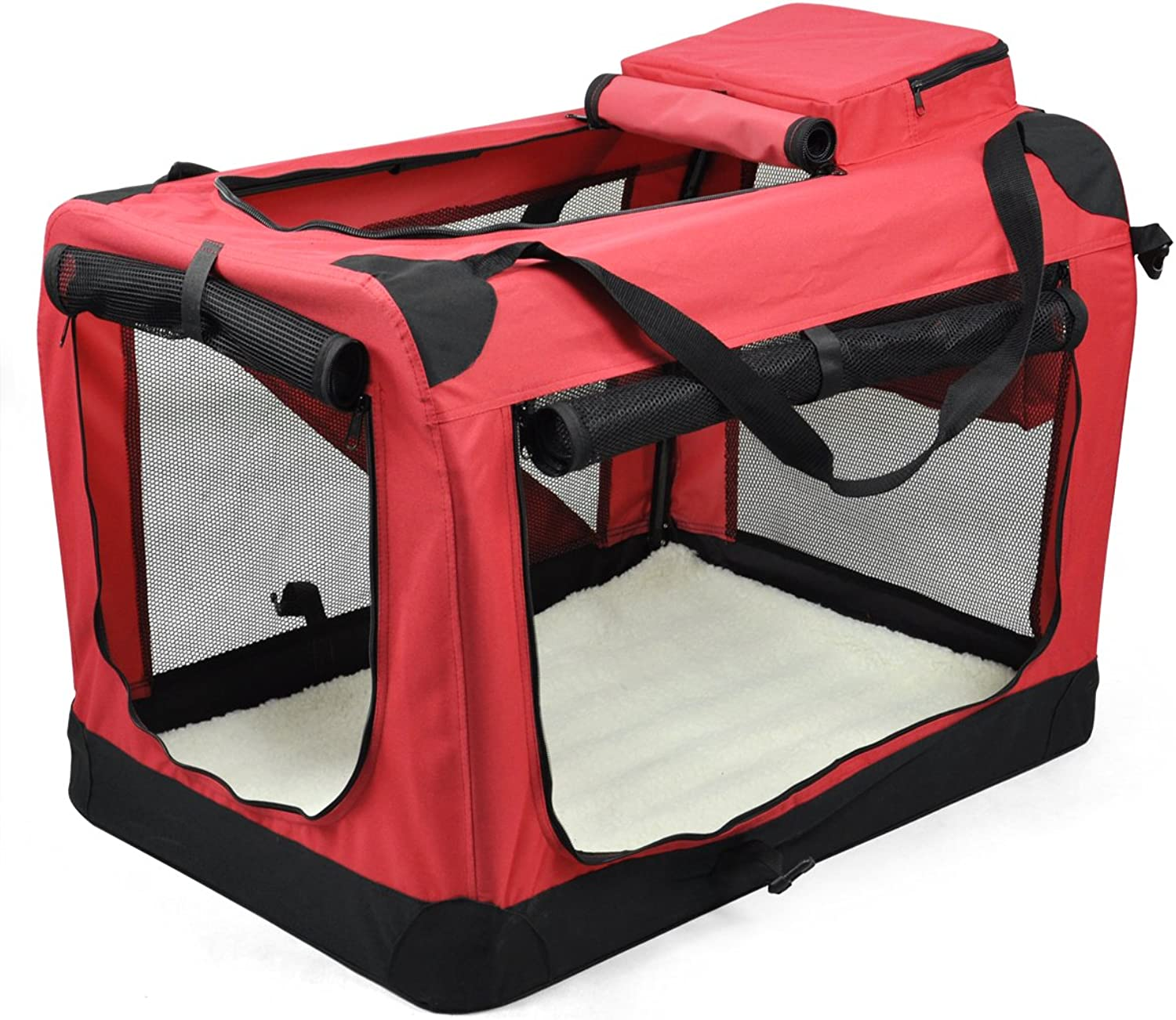 Beyondfashion Pet Dog Cat Fabric Soft Portable Carrier Foldable Kennel Cage Carrier House Bag Travel
