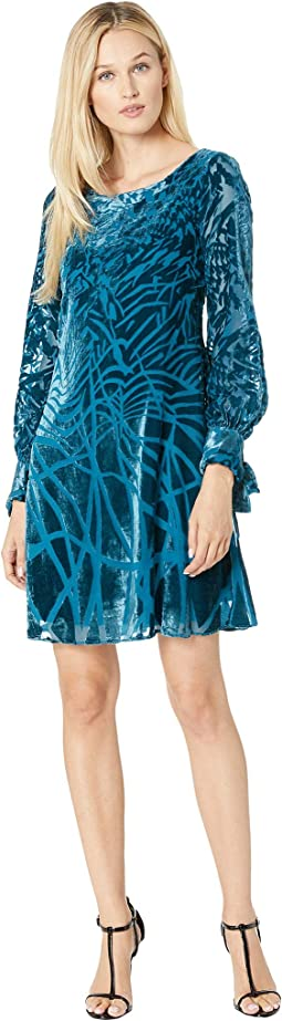 Geo Print Burnout Shift Dress