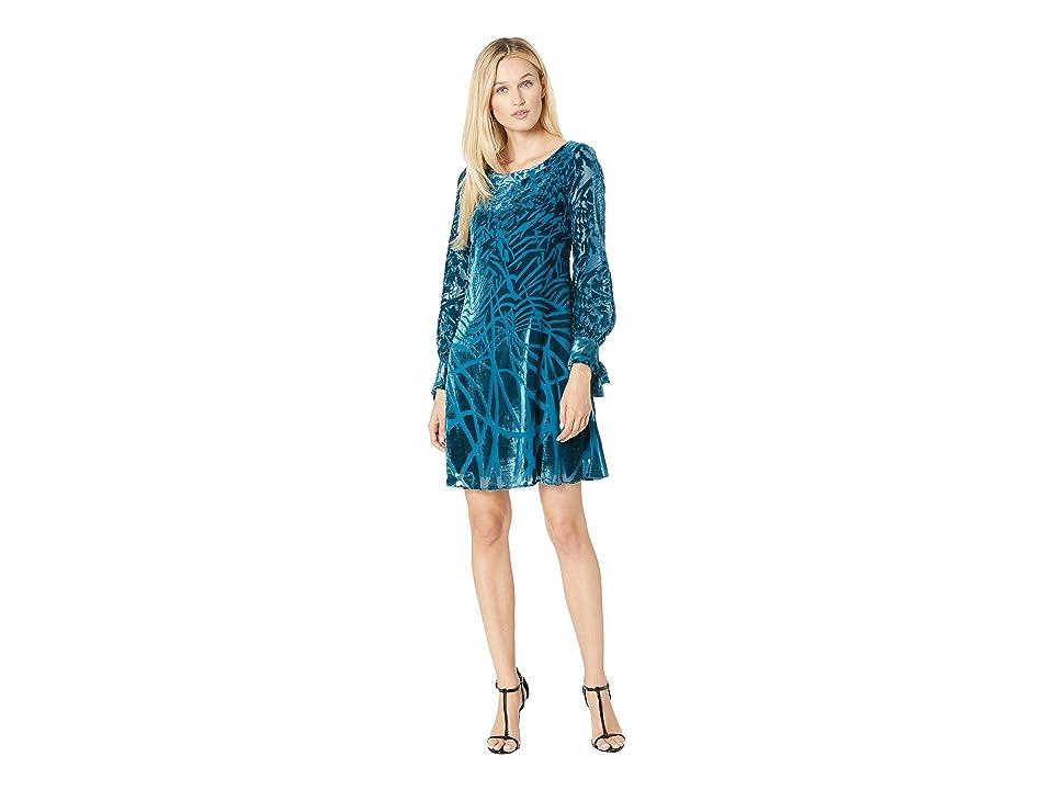 Taylor Geo Print Burnout Shift Dress (Peacock) Women
