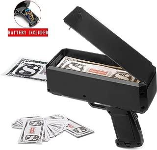 Wowok Black Money Gun Super Money Guns Paper Playing Spary Money Gun Make it Rain Toy Gun with Play Money & 9V Batteries Cash Gun for Game Party Supplies (Money Gun)