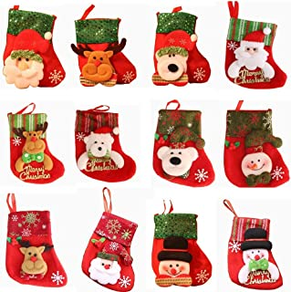 12Pcs Christmas Stockings,Embroidered Felt Xmas Tree Decorations Bulk,rusticchristmasdecorations Hanging Decoration,Candy Pouch Bag,Knife Spoon Fork Bag Greeting Card bag for personalized Xmas (Red)