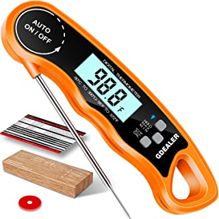 """GDEALER Meat Thermometer Digital Instant Read Thermometer Ultra-Fast Cooking Food Thermometer with 4.6"""" Folding Probe Calibration Function for Kitchen Milk Candy, BBQ Grill, Smokers Orange"""