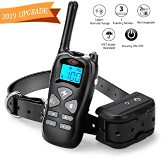 YISENCE Shock Collar for Dogs, Dog Shock Collar with Remote 1600ft Range, IP67 Waterproof Rechargeable Dog Training Collar Beep Vibrate and Shock Collar for Large Dogs and Small Dogs