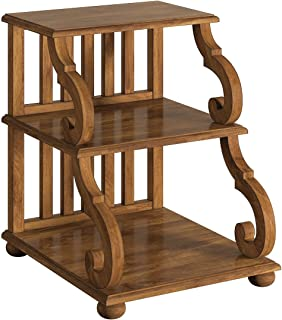 Modern Transitional 3 Tiered Accent End Table with Scroll Design on Side and Slat Design on