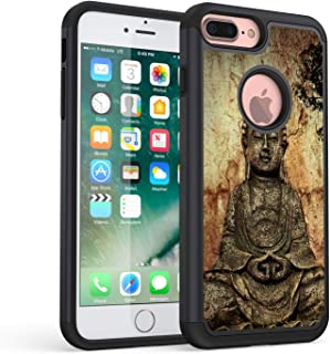 iPhone 7 Plus Case,iPhone 8 Plus Case,Rossy Heavy Duty Hybrid TPU Plastic Dual Layer Armor Defender Protection Case Cover for Apple iPhone 7 Plus/8 Plus,Chinese Buddha