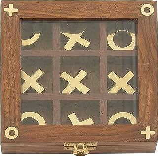 Deco 79 28478 木质 黄铜 Tic Tac Toe 家居装饰品,15.24 cm W/2.54 cm 高