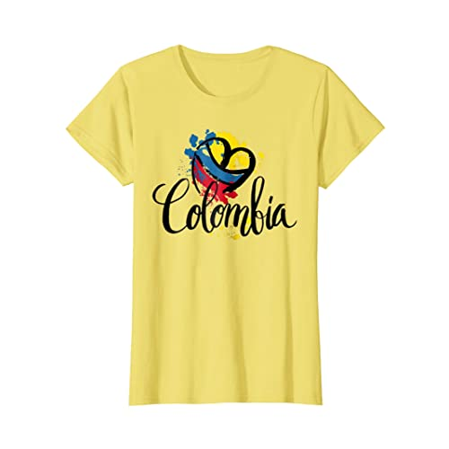 Beautiful I Love Colombia National Flag Colors Heart T-Shirt