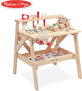 Melissa & Doug Wooden Project Solid Wood Workbench, (E-Commerce Packaging)