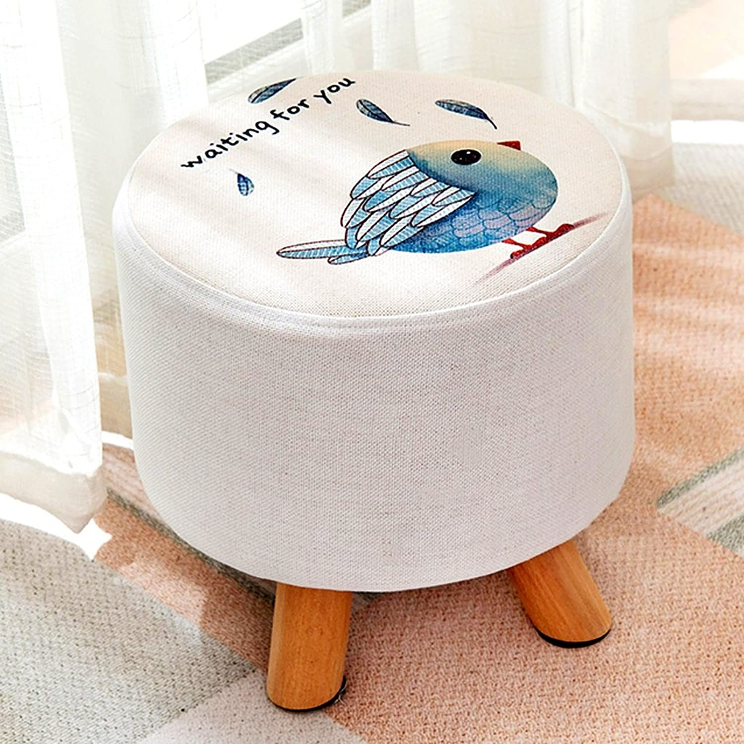 Footstools Wooden Bench Round upholstered Footstool Living Room Fabric Stool Sofa Small Round Stool Home Entrance shoes Bench Fashion Small Bench Simple Fashion Stool