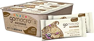GoMacro MacroBar Organic Vegan Protein Bars Peanut Butter + Chocolate Chip 2.4 Ounce Bars (Pack of 12)