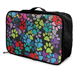 Travel Bags Colored Paw Print Portable Suitcase Trendy Trolley Handle Luggage Bag