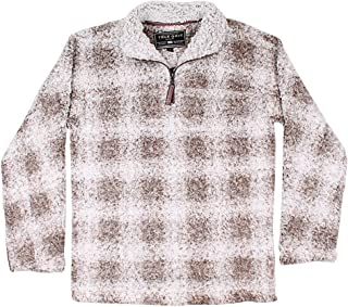 True Grit Softest Tip Box Plaid Shearling 1/4 Zip Pullover in Brown Final Sale