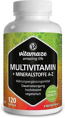 Vitamaze® Multivitamines et Minéraux Gélules, 23 Vitamines A-Z & Minéraux, Substances Minérales et Oligo-Éléments Pré...