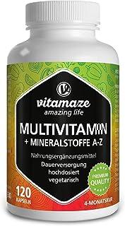 Vitamaze® Multivitaminas Cápsulas de Dosis Alta, 23 Valiosas Vitaminas Completas de la A-Z y Minerales y Oligoelementos, 1...