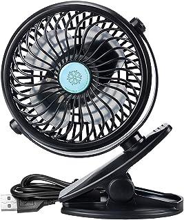 IREENUO Mini Fan Clip 2600mAh Ventilador de Escritorio USB Ventilador con Pilas Ventilador silencioso Pequeña Oficina Personal portátil, Hogar, Viajes, Camping, Cochecito (Negro)