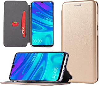 Wallet Case for Huawei P Smart 2019,Soft Silicone Skin Cover Anti Sweat Anti Scratch Anti Fingerprint Shockproof Bracket Case Support Magnetic Holder for Huawei P Smart 2019-Gold