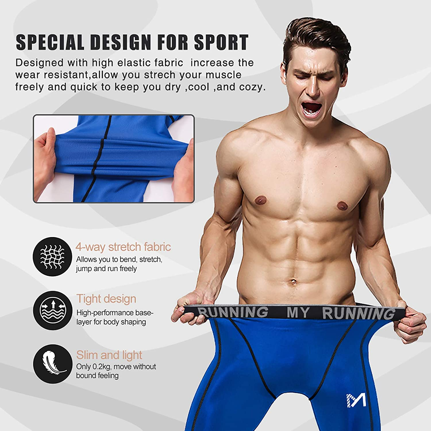 MEETYOO Mens Compression Pants Cool Dry Sport Fitness Running Workout Leggings Baselayer Underwear Tights