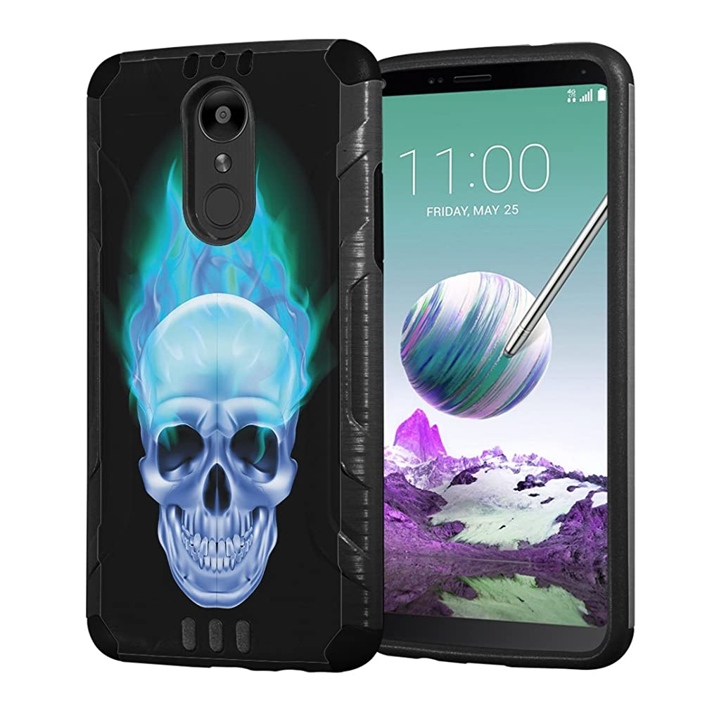Moriko Case Compatible with LG Stylo 4 Plus, LG Stylo 4, LG Q Stylus [Armor Layer Drop Protection Slim Fashion Shockproof Black Case] for LG Stylo 4 - (Blue Flame Skull)