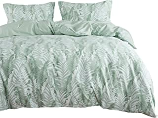 Wake In Cloud - Leaves Duvet Cover Set, 100% Cotton Bedding, Tropical Palm Tree Fronds and Banana Tree Leaves Pattern Printed in Green and White, with Zipper Closure (3pcs, Queen Size)