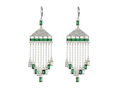Vince Camuto Fringe Lever Earrings (Rhodium/Crystal/Dark Moss Green) Earring
