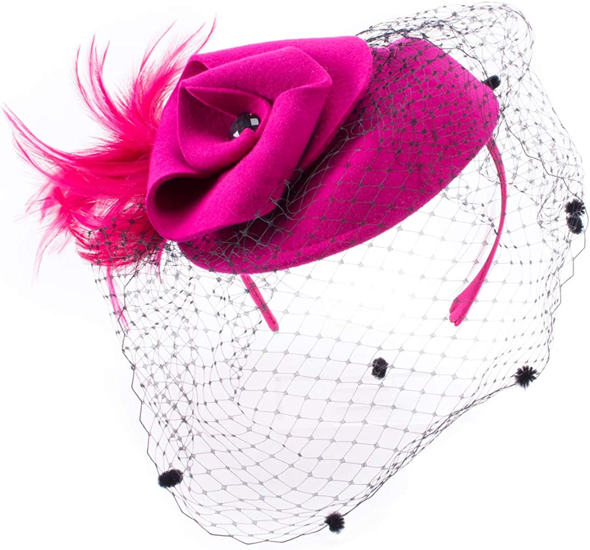 Lawliet Women Feather Veil Wool Felt Fascinator Cocktail Hat Wedding Party A251